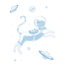 Gatito espacial con planetas